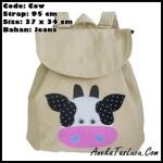 tas punggung heejou bags cow, tas backpack heejou bags unik bogor, tas cantik untuk remaja wanita, tas cewe gaul