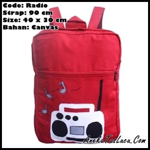 tas imut backpack heejou bags radio, tas punggung unik lucu untuk remaja sekolah dan kuliah, tas kain kanvas dan jeans